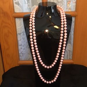 """72"""" Pink Beaded Vintage Necklace"""